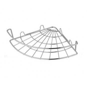 Купить стальную хромированную одинарную угловую полку на присосках